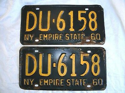 2 Vintage 1960 New York license plates, NY black & yellow, Empire State pair