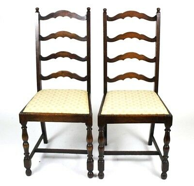 A pair of Victorian Oak Ladder Back Dining Chairs - FREE Shipping [PL4422 A]