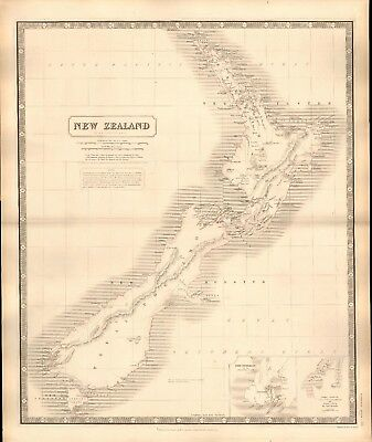 1844 Large Antique Map- Johnston - New Zealand