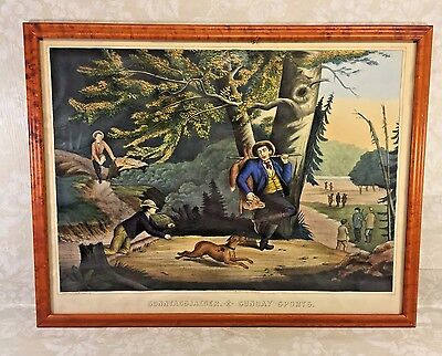 Ant  Henry Schile Colored Chromolithograph Sunday Sports 1871 New York Fox Htg