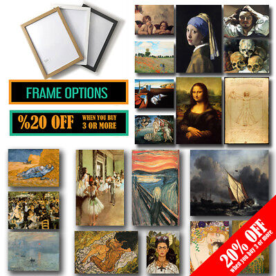FAMOUS PAINTERS CLASSIC PAINTINGS A4 A3 Poster & Frame Fine Art Print Home Decor