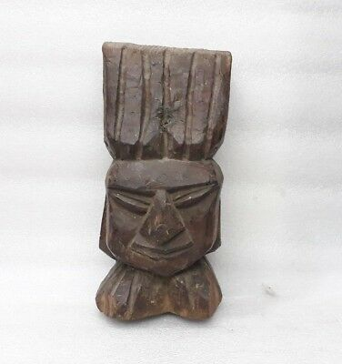 Antique Old Carved Figure Statue Bust Tribal African Woman Face Head