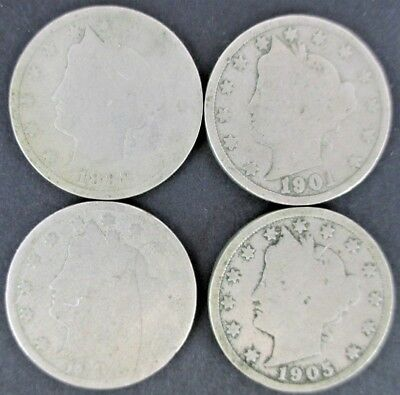 Lot Of 4 Liberty Nickels V Nickels - 1904 1905 1899 1901