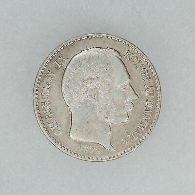 1878 DANISH WEST INDIES VIRGIN ISLANDS 10C  KM #70  80K MINTAGE .625 Ag (3635)