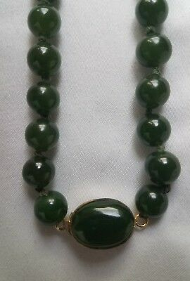 """Vintage Dark Green Jade Bead Necklace with Silver Clasp 30"""" long 8 mm beads"""
