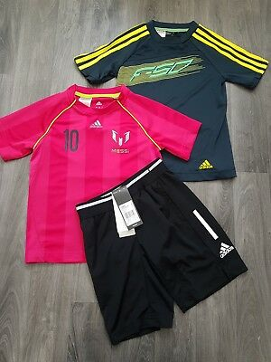 ADIDAS BOYS SPORT WEAR BUNDLE AGE 5-6 Years MESSI,TOPS,SHORTS,FOOTBALL,SET