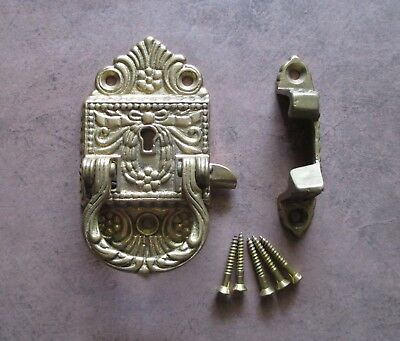 Vintage ice box latch brass ornate off set with handle and keyhole - NO key