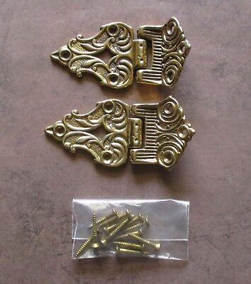 Pair of Vintage 4 inch offset ornate brass hinges