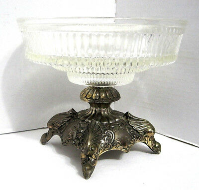 Ornate Vintage Silver Tone & Glass Compote Home & Garden Decorative Bowl Vessel