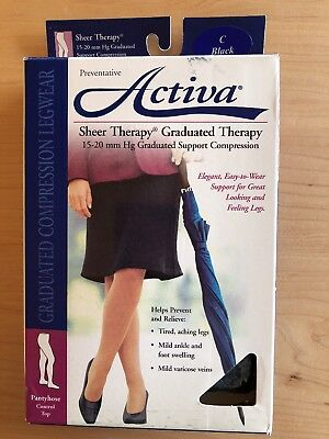 Activa Sheer Therapy Graduated Support Control Top Pantyhose 15-20 mmHg Black C