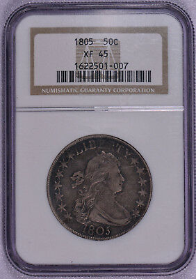 NGC graded 1805 Bust Half Dollar US Silver coin XF45 !  Free shipping!
