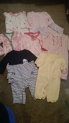 8eaa95d57d00 baby girls mixed romper one piece lot 0-3 free owl lovey Burts bees carters