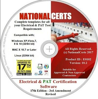 ELECTRICAL & PAT TESTING CERTIFICATES/FORMS, 17th ED EICR - NICEIC NAPIT ECA