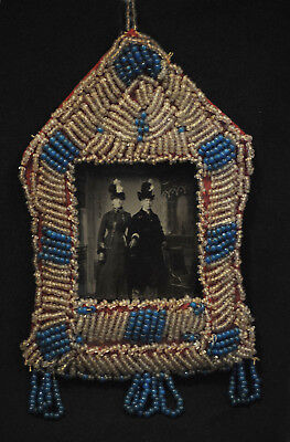 old 1870-90 North East Native American Indian beaded picture frame with tin type
