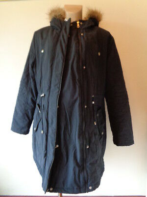 George Maternity & Beyond Navy Blue Quilted Parka Coat Jacket Size 18