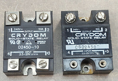 Lot of 2 Crydom Solid State Relay D2450-10&CSD2450 Output 240Volt 50Amp, Input 3