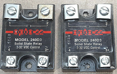 Lot of 2 OPTO 22 Solid State Relay Model 240D3, 3-32 VDC control