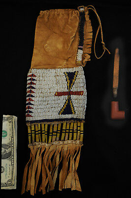 early N. Cheyenne Native American Indian tobacco Bag w pictoghraphic pipe & bowl