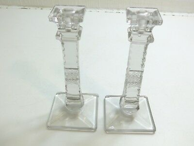 "Set Of 2 Antique Early American Cut Glass 8 1/2"" Tall Clear Candlesticks Square"
