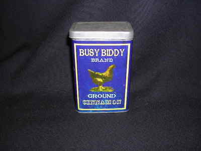 Vintage REPRODUCTION Decor Piece Busy Biddy Brand Cinnamon Tin Rooster Spice