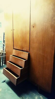 Large Vintage Retro Mid Century Teak 1960s Wardrobe, with angled drawers