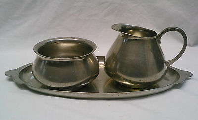 Royal Holland Pewter KMD Tiel Vintage Creamer and sugar bowl with tray