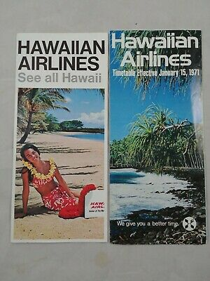ha 2 Vintage 1971 Hawaiian Airlines Route Map System Timetable Brochures  12