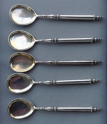 Russian 5 Silver Pudding Spoons , Monogrammed
