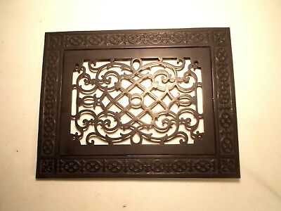 Antique Large Cast Iron Victorian Fancy Floor Grate Register Vent With Frame