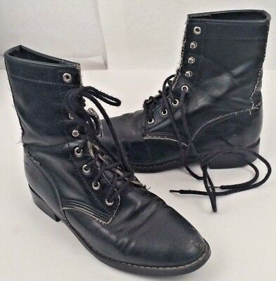 3209844245be Granny Boots Black Lace Up Tie Size 7 COASTERS Bellatrix Cosplay Witch
