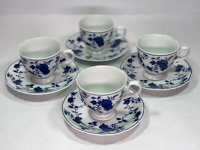 Set Of 4 Royal Meissen Fine China CUPS & SAUCERS  From Japan * Blue & White