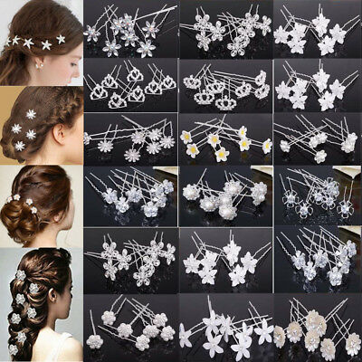 20/40Pc Wedding Bridal Pearl Flower Crystal Hair Pins Clips Bridesmaid Jewelry