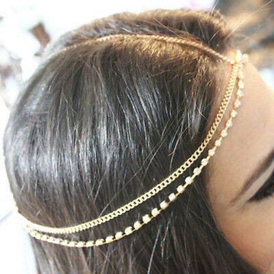 NEW Bohemian Silver/Gold Head Chain Jewelry Forehead Headband Piece Hair Gift