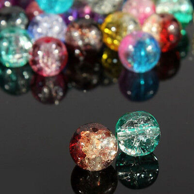 100Pcs 4mm Wholesale Crystal Crack Glass Round Spacer Loose Beads Mixed Color