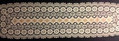 """Great Vintage Exceptional Chemical Lace Richly Decorated Runner  43 x 12"""""""