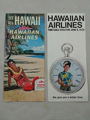 ha 2 Vintage 1970 Hawaiian Airlines Route Map System Timetable Brochures   11