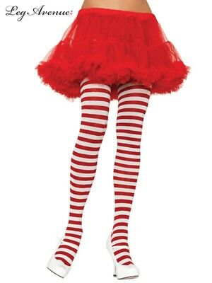 White And Red Stripe LADIES Tights Costume Stockings Plus Size 1X-2X Or 3X-4X