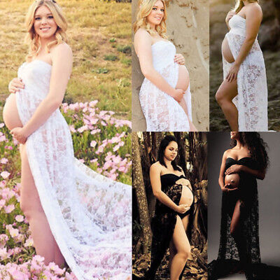 AU Maternity Maxi Gown Pregnant Women Lace Dress Photography Photo Props Clothes