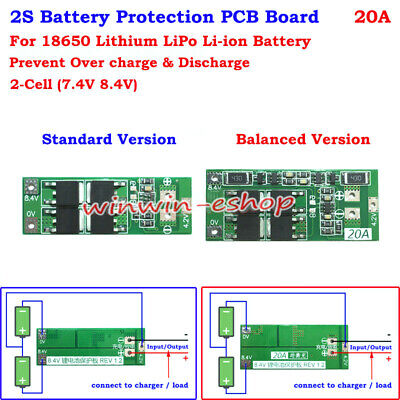 18650 w/Balance Lithium Li-ion Battery BMS Protection PCB Board 2S 20A 7.4V 8.4V