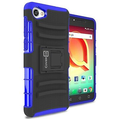 Blue Protective Armor Case with Belt Holster For ALCATEL Pulsemix / A50 / Crave