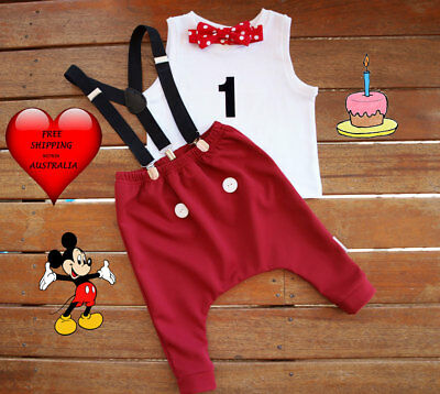 Cake Smash Outfit Boy Mickey Mouse 1st Birthday OutfitHandmade Size 1