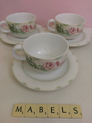 ROYAL DOULTON  ~BRONTE~ tea cups & saucers x 3