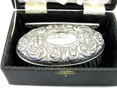 Solid Silver   BOXED HAIR BRUSH & COMB  Hallmarked  BIRMINGHAM 1975