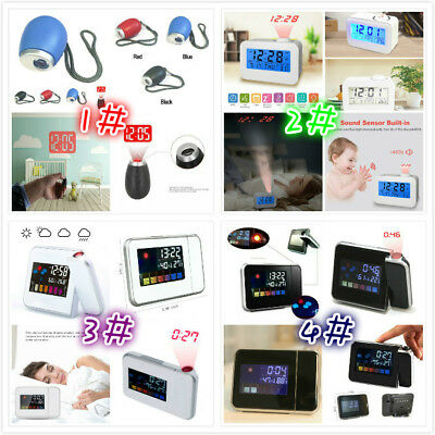 Projection Digital Weather LCD Snooze Alarm Clock Color Display LED Backlight ZF