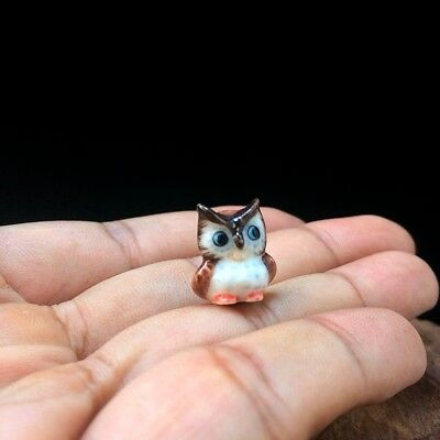 Owl Tiny Dollhouse Miniature Ceramic Figurine Sculpture Hand Painted Decor Gift