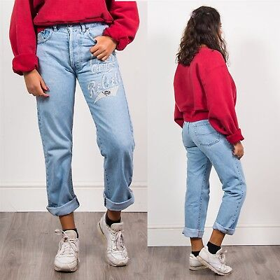 Womens 90's Vintage Light Blue High Waist Denim Mom Jeans Embroidered Text 12