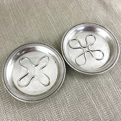 Pair of Antique French Silver Plate Wine Bottle Coasters Stand & Trivet Frenais