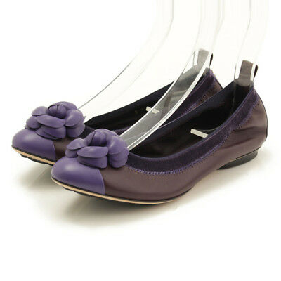 cdd08f8efcf Authentic Chanel Camellia Flat Shoes Pumps G27913 Purple Grade S Used - At