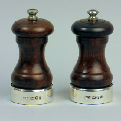 A Fine Pair Of Peter Piper Silver & Mahogany Pepper Mills By Park Green