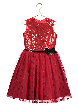 Girls Official Disney Boutique Red Sequin Minnie Mouse Occasion Dress 3-10yr